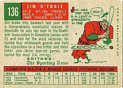 1959 Topps Baseball Cards      136     Jim O Toole RS RC