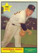 1961 Topps Baseball Cards      161     Sherman Jones UER RC-(Photo actually-Eddie Fisher)