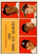 1961 Topps Baseball Cards      044      AL Home Run Leaders-Mickey Mantle-Roger Maris-Jim Lemon-Rocky Colavito
