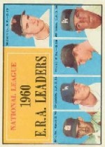 1961 Topps Baseball Cards      045      NL ERA Leaders-Mike McCormick-Ernie Broglio-Don Drysdale-Bob Friend-Stan Williams