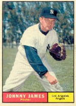 1961 Topps Baseball Cards      457     Johnny James-(Listed as Angel,-but wearing Yankee-uniform and cap)