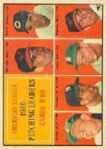 1961 Topps Baseball Cards      048      AL Pitching Leaders-Chuck Estrada-Jim Perry UER-(Listed as an Oriole)-Bud Daley-Art Ditmar-Frank Lary-Milt Pappas