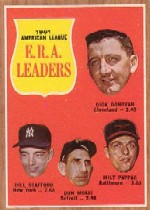 1962 Topps      055      AL ERA Leaders-Dick Donovan-Bill Stafford-Don Mossi-Milt Pappas
