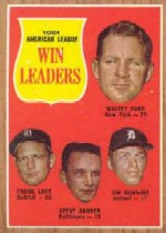 1962 Topps      057      AL Win Leaders-Whitey Ford-Frank Lary-Steve Barber-Jim Bunning