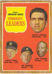 1962 Topps      059      AL Strikout Leaders-Camilo Pascual-Whitey Ford-Jim Bunning-Juan Pizzaro