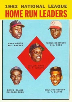 1963 Topps Baseball Cards      003       Willie Mays/Hank Aaron/Frank Robinson/Orlando Cepeda/Ernie Banks LL