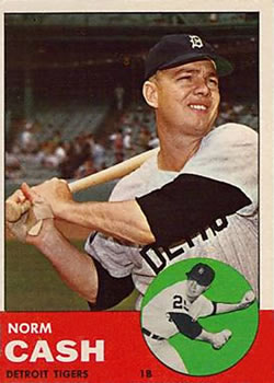 1963 Topps Baseball Cards      445     Norm Cash