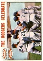 1964 Topps Baseball Cards      140     World Series Summary-Dodgers Celebrate
