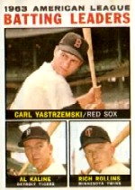1964 Topps Baseball Cards      008      AL Batting Leaders-Carl Yastrzemski-Al Kaline-Rich Rollins
