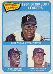 1965 Topps Baseball Cards      012      NL Strikeout Leaders-Bob Veale-Don Drysdale-Bob Gibson