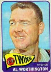1965 Topps Baseball Cards      216     Al Worthington