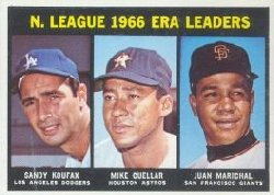 1967 Topps Baseball Cards      234     NL ERA Leaders-Sandy Koufax-Mike Cuellar-Juan Marichal