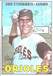 1967 Topps Baseball Cards      457     Andy Etchebarren