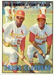 1967 Topps Baseball Cards      063      Cards Clubbers-Lou Brock-Curt Flood