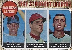 1968 Topps Baseball Cards      012      AL Strikeout Leaders-Jim Lonborg UER-(Misspelled Longberg-on card back)-Sam McDowell-Dean Chance