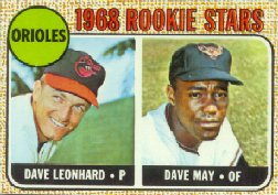 1968 Topps Baseball Cards      056      Rookie Stars-Dave Leonhard RC-Dave May RC