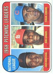 1969 Topps Baseball Cards      010      NL Pitching Leaders-Juan Marichal-Bob Gibson-Fergie Jenkins