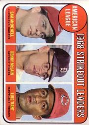 1969 Topps Baseball Cards      011      AL Strikeout Leaders-Sam McDowell-Denny McLain-Luis Tiant