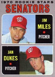 1970 Topps Baseball Cards      154     Rookie Stars-Jim Miles-Jan Dukes RC