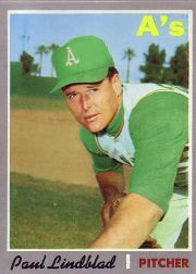 1970 Topps Baseball Cards      408     Paul Lindblad