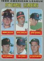1970 Topps Baseball Cards      070      AL Pitching Leaders-Dennis McLain-Mike Cuellar-Dave Boswell-Dave McNally-Jim Perry-Mel Stottlemyre