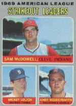 1970 Topps Baseball Cards      072      AL Strikeout Leaders-Sam McDowell-Mickey Lolich-Andy Messersmith