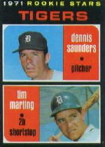 1971 Topps Baseball Cards      423     Dennis Saunders/Tim Marting RC