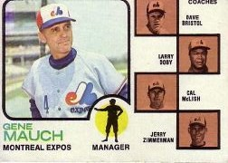 1973 Topps Baseball Cards      377     Gene Mauch MG/Dave Bristol/Larry Doby/Cal McLish/Jerry Zimmerman