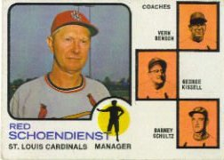 1973 Topps Baseball Cards      497A    Red Schoendienst MG/Vern Benson/George Kissell/Barney Schultz Orange Background