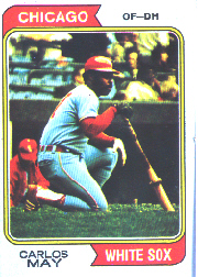 1974 Topps Baseball Cards      195     Carlos May