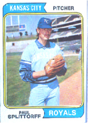 1974 Topps Baseball Cards      225     Paul Splittorff