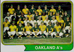 1974 Topps Baseball Cards      246     Oakland Athletics TC
