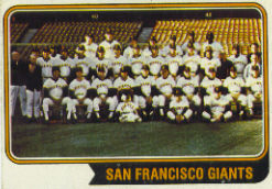 1974 Topps Baseball Cards      281     San Francisco Giants TC
