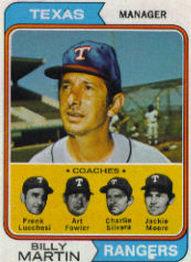 1974 Topps Baseball Cards      379     Billy Martin MG