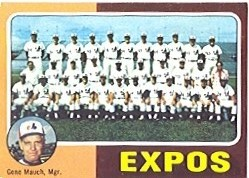 1975 Topps Mini Baseball Cards      101     Montreal Expos CL/Gene Mauch