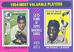 1975 Topps Mini Baseball Cards      192     Yogi Berra/Willie Mays MVP