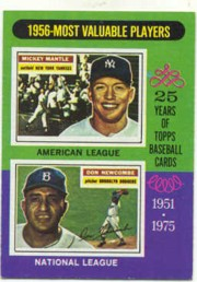1975 Topps Mini Baseball Cards      194     Mickey Mantle/Don Newcombe MVP