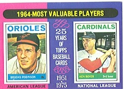 1975 Topps Mini Baseball Cards      202     Brooks Robinson/Ken Boyer MVP