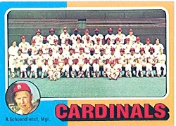1975 Topps Mini Baseball Cards      246     St. Louis Cardinals CL/Red Schoendienst