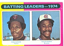 1975 Topps Mini Baseball Cards      306     Rod Carew/Ralph Garr LL