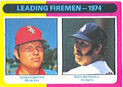 1975 Topps Mini Baseball Cards      313     Terry Forster/Mike Marshall LL