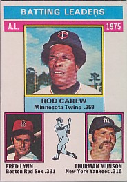 1976 Topps Baseball Cards      192     Rod Carew/Fred Lynn/Thurman Munson LL