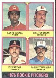1976 Topps Baseball Cards      589     Santo Alcala/Mike Flanagan/Joe Pactwa/Pablo Torrealba RC