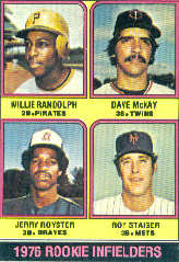 1976 Topps Baseball Cards      592     Willie Randolph/Dave McKey/Jerry Royster/Roy Staiger RC