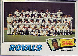 1977 Topps Baseball Cards      371     Kansas City Royals CL/Whitey Herzog