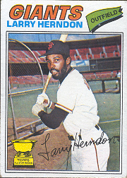 1977 Topps Baseball Cards      397     Larry Herndon RC
