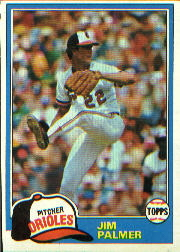 1981 Topps Baseball Cards      210     Jim Palmer