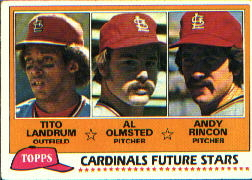 1981 Topps Baseball Cards      244     Tito Landrum/Al Olmsted/Andy Rincon RC