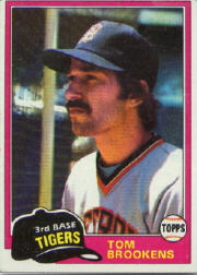 1981 Topps Baseball Cards      251     Tom Brookens