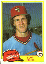 1981 Topps Baseball Cards      266     Tom Herr